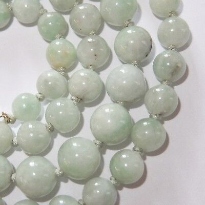 Vintage Graduated Pale Green Jade Bead Necklace 14K Gold Clasp