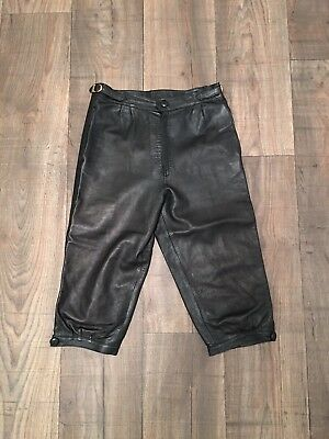 Vintage 80's Leather Pedal Pushers Pantaloons Cropped Trousers Size 8