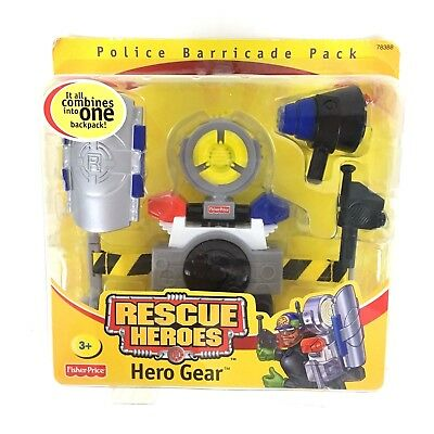 Fisher Price Rescue Heroes Hero Gear Police Barricade Pack, Ages 3+ Toy Kids Cop