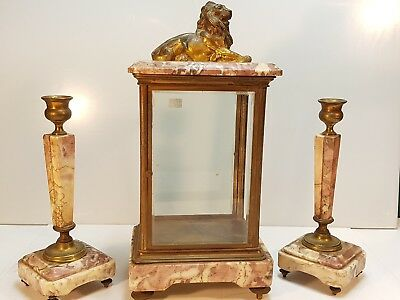 Late 19th Century Four Glass Marble and bronze Clock set For Spares Or Repairs