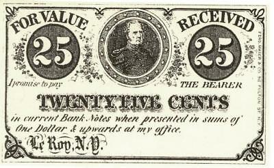 LeRoy NY 25 Cents Obsolete Currency Banknote ca 1860's  CU