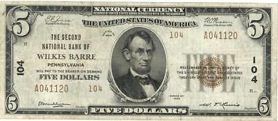 U.S. $5 Wilkes Barre 2ND National Bank Currency Banknote 1929