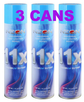 3 Can NEON 11X Filtered Butane Ultra Premium Refined Refill Lighter Can 300mL