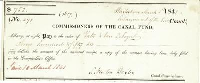 Erie Canal Wrightstown NY Check 1841