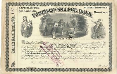 Eastman College Bank Poughkeepsie NY Stock Certificate 1894