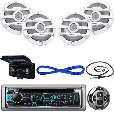 "Bluetooth Marine USB Radio w/Remote, 8"" 300W Speakers, 50FT Wire, Cover, Antenna"