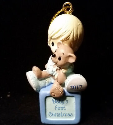 "Precious Moments 3"" Christmas Ornament- Baby Boy First Christmas W/bear 2017"