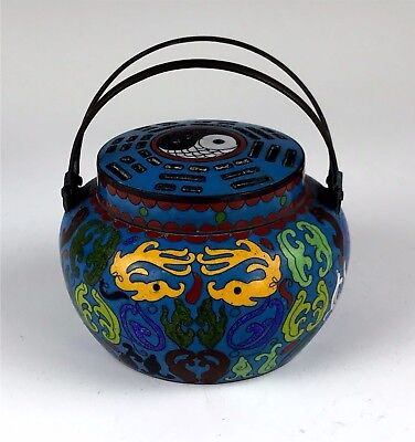 Signed Antique Chinese Cloisonne Decorated Censer Pot