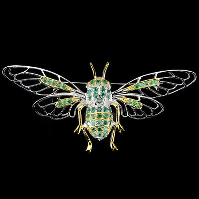 Awesome Round Cut 2 Mm Top Rich Green Emerald 925 Sterling Silver Bee Big Brooch