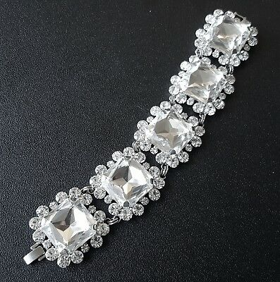 "Unsigned HIGH END DESIGNER Vintage 8"" Bracelet HUGE Crystal Flower Wedding X64"
