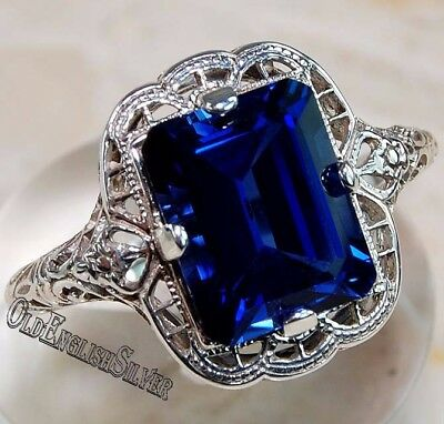 2CT Blue Sapphire 925 Solid Sterling Silver Art Deco Filigree Ring Jewelry Sz 9