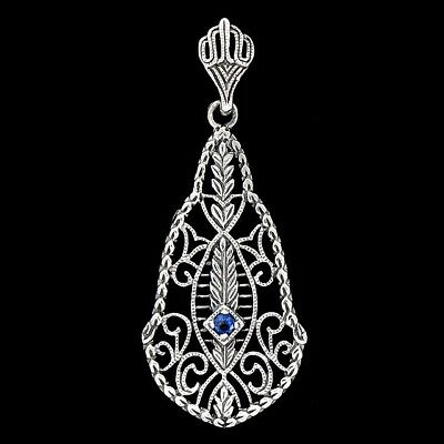 Blue Sapphire 925 Solid Sterling Silver Victorian Style Filigree Pendant jewelry
