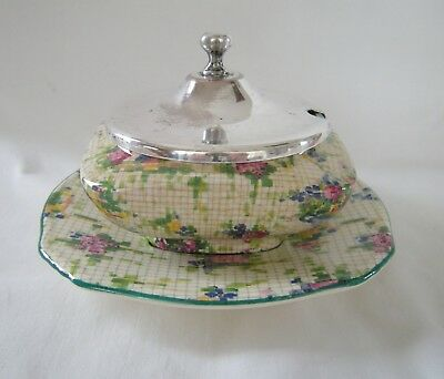 1930 ROYAL WINTON Chintz PELHAM Silverplate Lid covered JAM POT