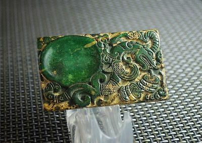 Chinese old natural  jade hand-carved dragon & coins Ink Stones G393