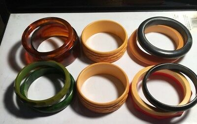 Lot Of Eleven Bakelite Bangle Bracelets
