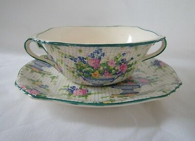 1930 ROYAL WINTON Chintz PELHAM  Lot 4 Handled Cream Soup Cups with Saucers