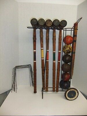 Vintage 1940's 1950's Croquet Set Ribbed Style Mallets Solid Balls Wheel Cart