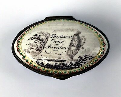 "Antique 1780 Battersea Bilston Enamel Patch Box ""The Absent Not Forgotten"""