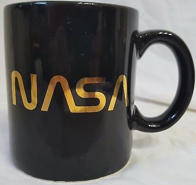 NASA Coffee Cup / Mug  - Black with Gold Letters - Only one on eBay!