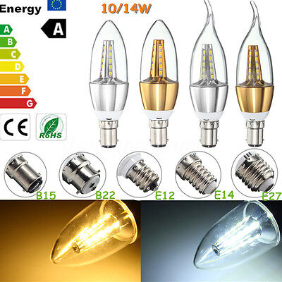 E14 SES B22 BC E27 ES 10/14W LED Chandelier Candle Flame Light Bulb Lamp 85-265V