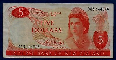 New Zealand Banknote 5 Dollars 1968/1975  VF+