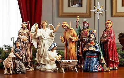 14-Piece The Real Life Nativity Christmas Resin Holy Family Fireplace Decor 7-In