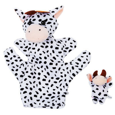 Black and White Dairy Cow Hand Puppet Finger Puppets PK I5U5