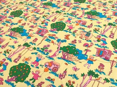 Vintage Retro 1970s 100% Cotton Poplin Novelty Kids Print Fabric 250cm x 91cm