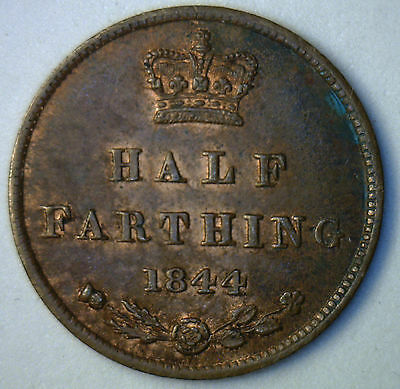 1844 Brown Copper English Half Farthing Great Britain UK Coin UNC