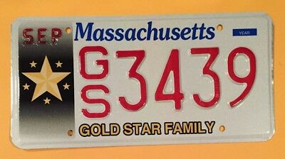 Massachusetts Gold Star Family Military Kia Specialty License Plate #gs•3429