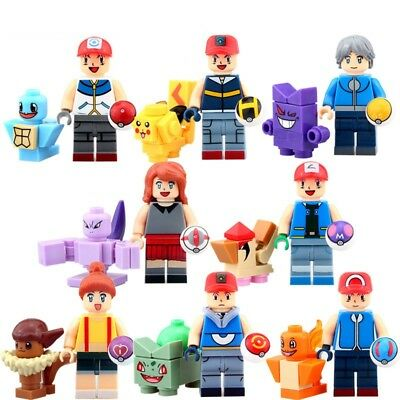 8 Sets Minifigures Pokemon Go Ash Ketchum Elf Ball Movie Series Building Toys