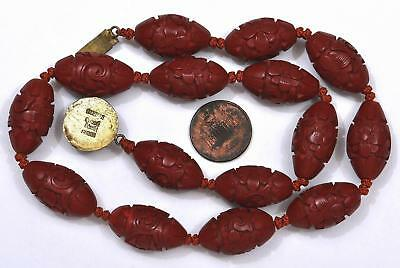 Old Chinese Lacquer Cinnabar Carved Carving Flower Oval Bead Silver Necklace Mk