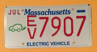 Massachusetts Electric Vehicle Specialty License Plate #ev•7907