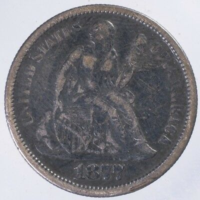 1877 S Seated Liberty Dime VF dings, scratches