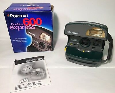Polaroid OneStep Express 600 Instant Film Camera With Velcro Handle Green -Works