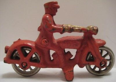 """Classic Antique Cast Iron Toy COP Motorcycle 4"""" Hubley Harley Dvdsn 1920s as is"""