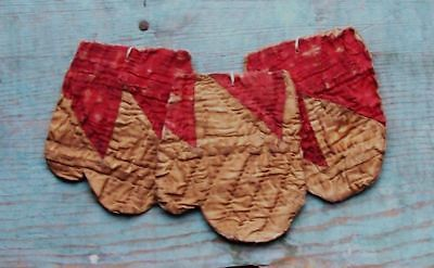Primitive MITTEN ORNAMENTS Antique Quilt Rustic Americana Red & White - AAFA