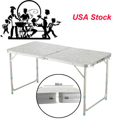 Office Centerfold Folding Table Black 4 Foot Safty Portable Plastic Home Party