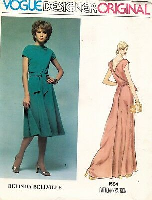 1970's VTG VOGUE Misses' Dress Belinda Bellville Pattern 1584 Size 10 UNCUT