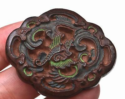 19C Chinese Medicine Herb Chenxiang Aloeswood Carved Dragon Plaque 紫金锭藥珠藥牌