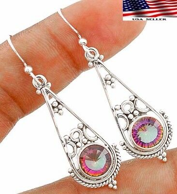 """3CT Color Changing Rainbow Topaz 925 Sterling Silver Earrings Jewelry 1 7/8"""""""