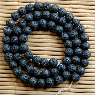 Fashion Natural Nature Loose Black Volcanic Lava Gemstone Charms Round Beads 8mm