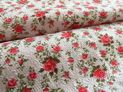 Vintage 1960s Pink with Red Roses Polished Embossed Cotton Fabric 1.6m x 90cm