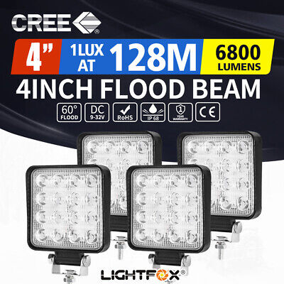 4X 80W Flood LED Work Light Bar Offroad 4WD Ford JEEP Truck SUV Boat 12V 24V