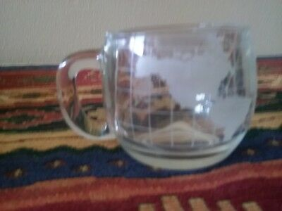 NEW Old Vintage 1970's Nestle Nescafe Clear Glass Globe World Cup Mug Coffee Tea