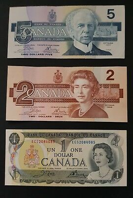 1986 &1973 CANADA 3 × Notes 1 × 1986 $5 Note UNC, 1× 1986 $2 Note UNC & 1× $1