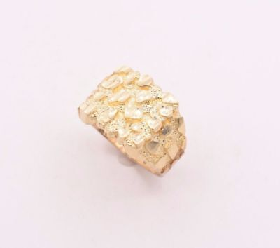 Mens Large Nugget Square Ring Real Solid 10K Yellow Gold ALL SIZES