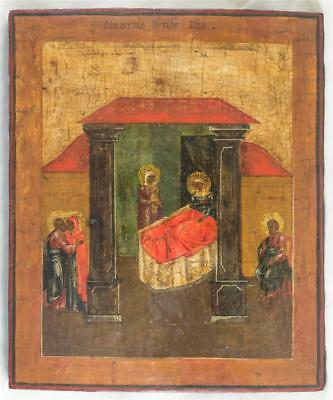 19c RUSSIAN ANTIQUE ORTHODOX ICON THE BIRTH OF BLESSED VIRGIN