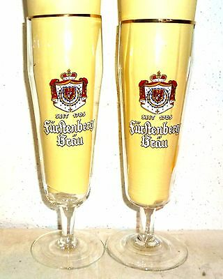 2 Furstenberg Brau Donaueschingen German Beer Glasses