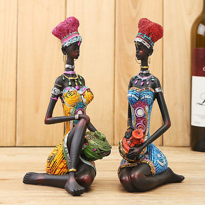 Exotic African Tribal Woman Resin Figurine Creative Home Decor Statue Gift